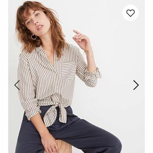 Madewell Button Up, Tie Front Shirt